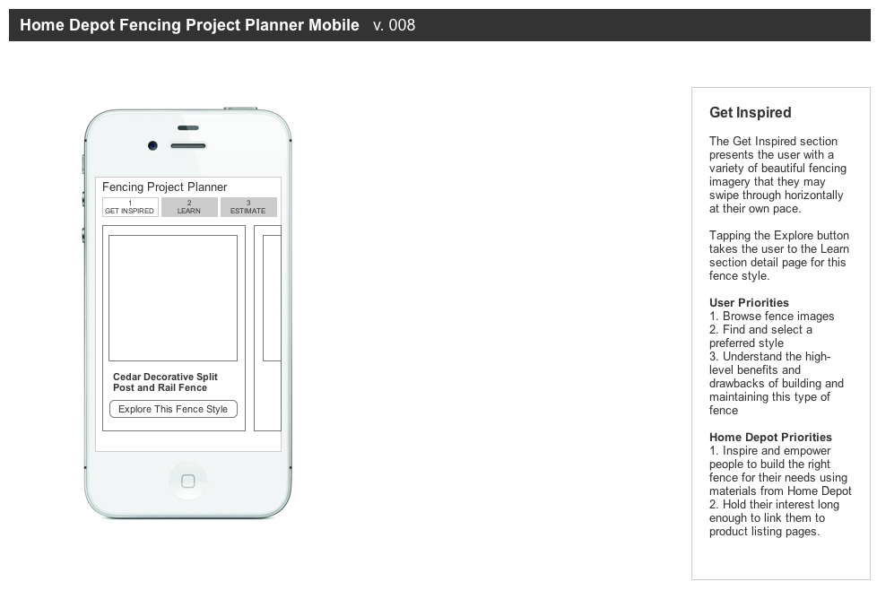 A Series Of Flows And Wireframes To Plan Out The Interactions Information Display For Home Depot S Mobile Desktop Fencing Project Planner