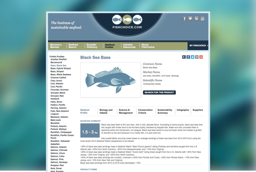 Sustainable Seafood Website for FishChoice
