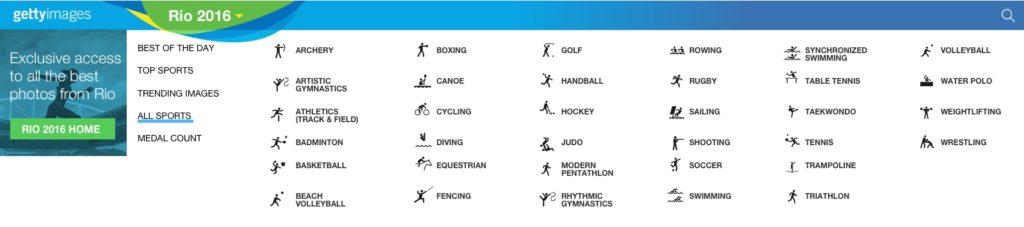 Sport menu
