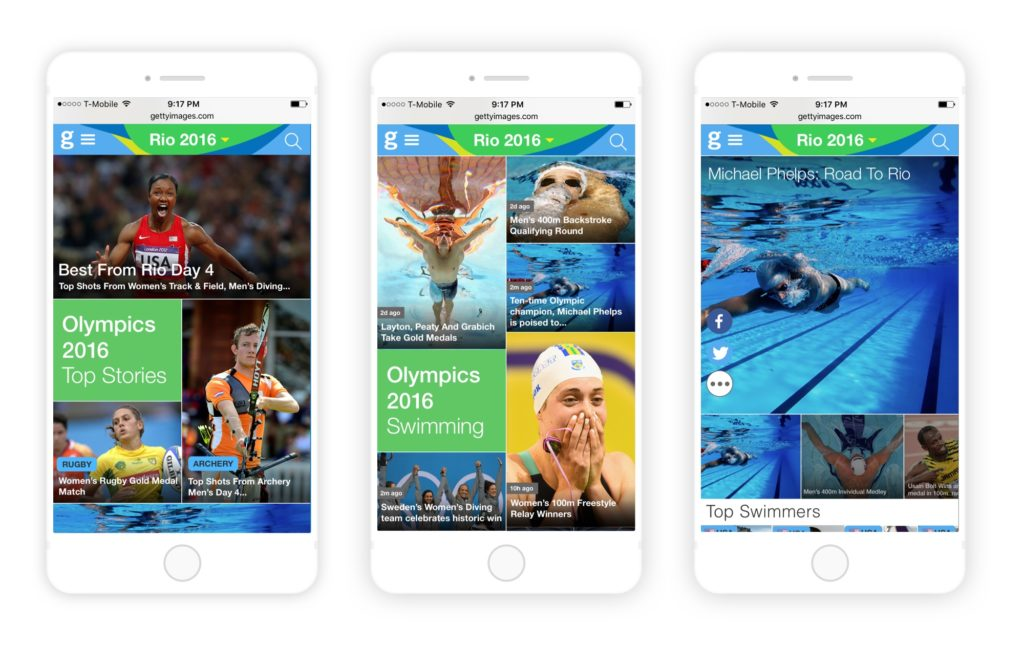 Olympics Mobile Page Flow